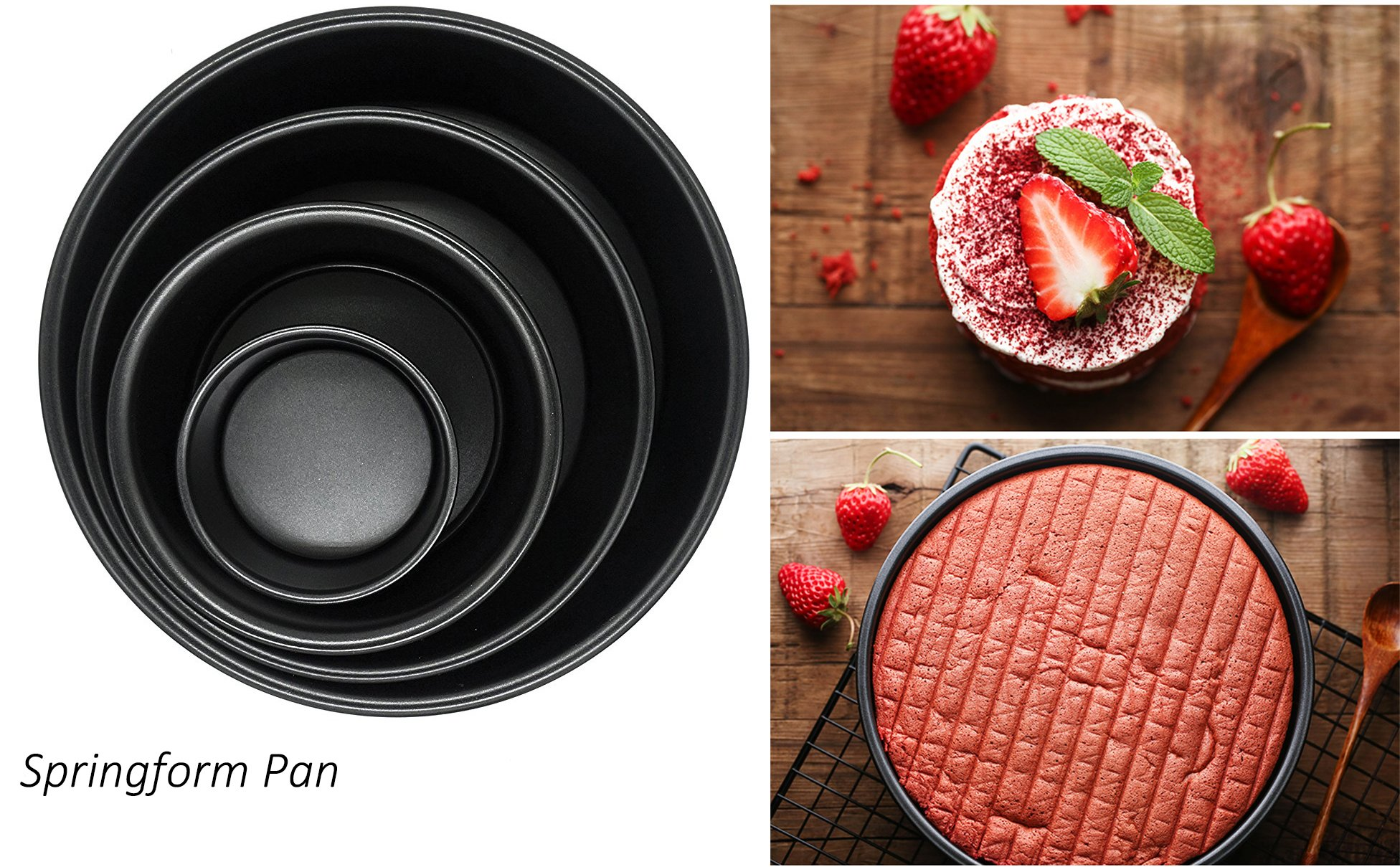 Blackcover Baking Pan Springform Pan Ideal for Bread Baking Made of Non-Stick Black Steel Bread Pan Set Cake Pan Bakeware Set (Round 6'')