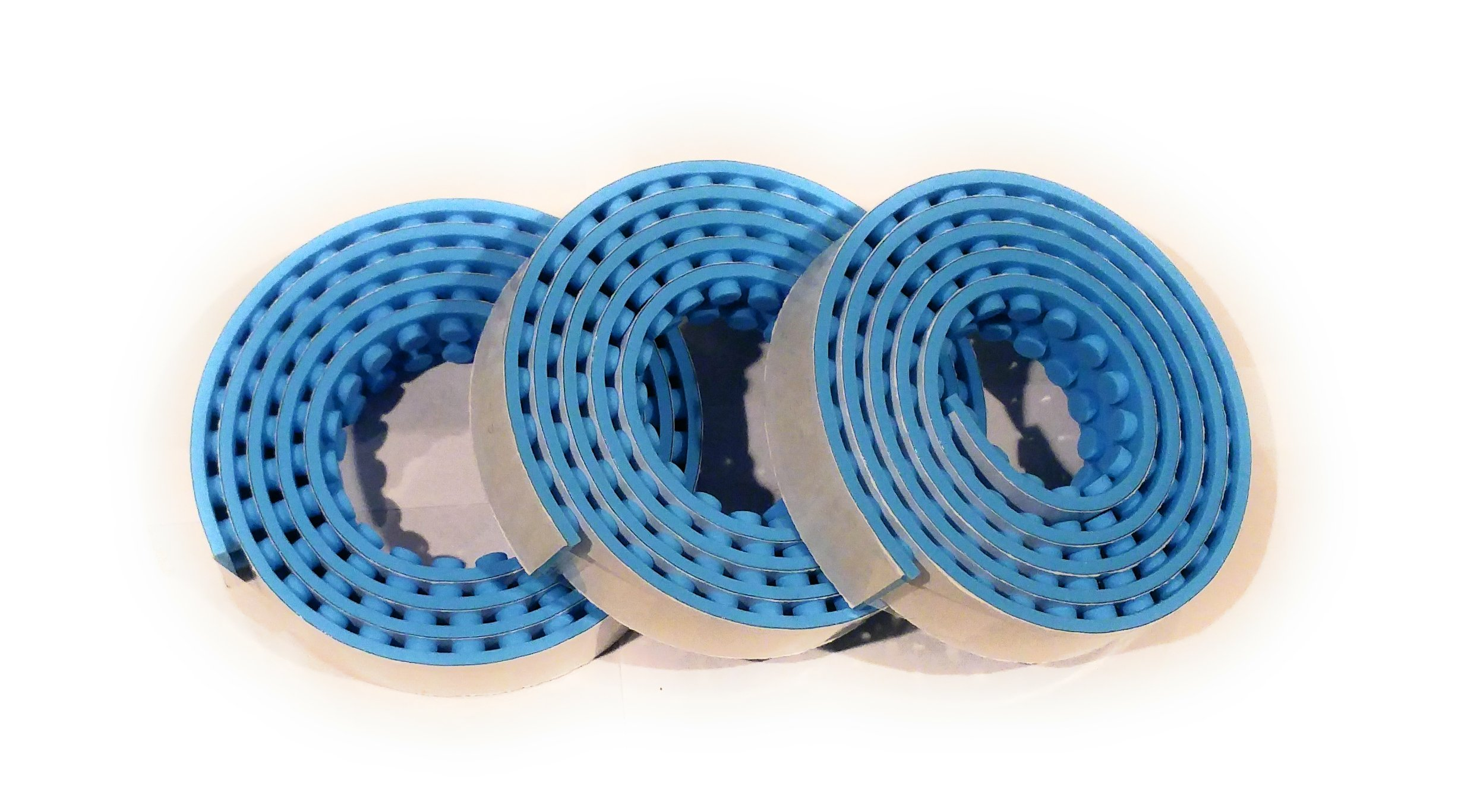 Stuff N Junk 2 Stick and Build (3 Pk) Silicone Building Block Tape Rolls, Compatible w/ ALL Lego Blocks (Mini Figures, Duplo) Mega Bloks! Perfect for All Ages Total 9ft of Fun (3ft per roll) (blue)