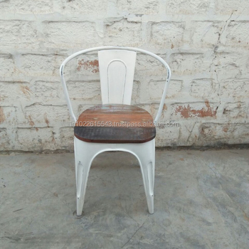Industrial Reclaimed Wood Top Metal Cafe Chair, Antique Look Metal  Restaurant Chair With Reclaimed Wood
