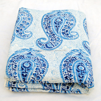 Blue paisley printed beautiful indian cotton wholesale fabric