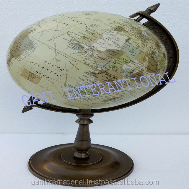 Table Globe With Antique Stand Decor