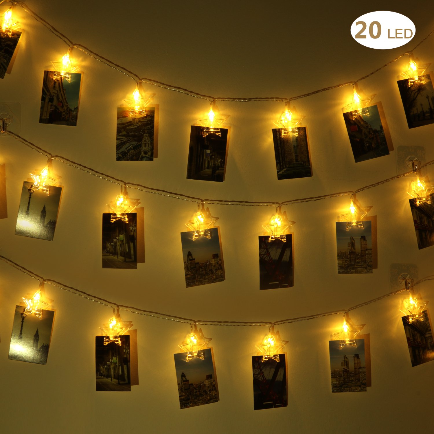 Yeeteching 16 ft USB Powered LED Photo Star Clip String Lights(Warm White) - 20 Photo Clips for Home Wedding Birthday Decor - Perfect for Hanging Pictures, Notes, Artwork