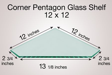 5ea7ae6abd4c Get Quotations · Corner Pentagon Glass Shelf 12 X 12