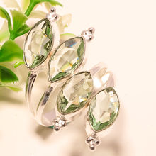 GREEN AMETHYST GEMSTONE 925 SILVER JEWELRY RING ADJUSTABLE