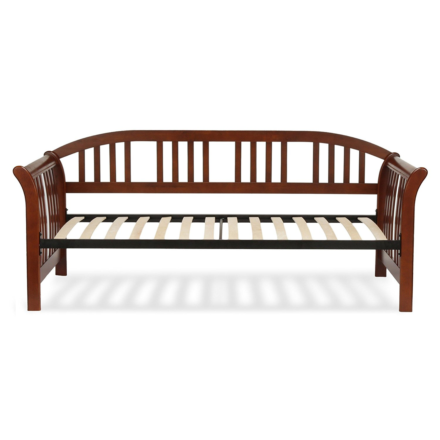 Fashion Bed Group Salem Complete Wood Daybed with Euro Top Spring Support Frame and Sleigh-Style Arms, Mahogany Finish, Twin