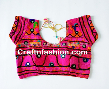 76caf42e15d33 Fashion wear Ready Made blouse- Multicolored Kutch Embroidery Work Blouse- Plain  saree with kutch