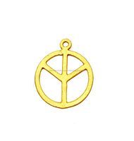 Hippie Peace Sign Round Brushed Gold Plated Metal Charms Pendant - Jewelry Findings Charms