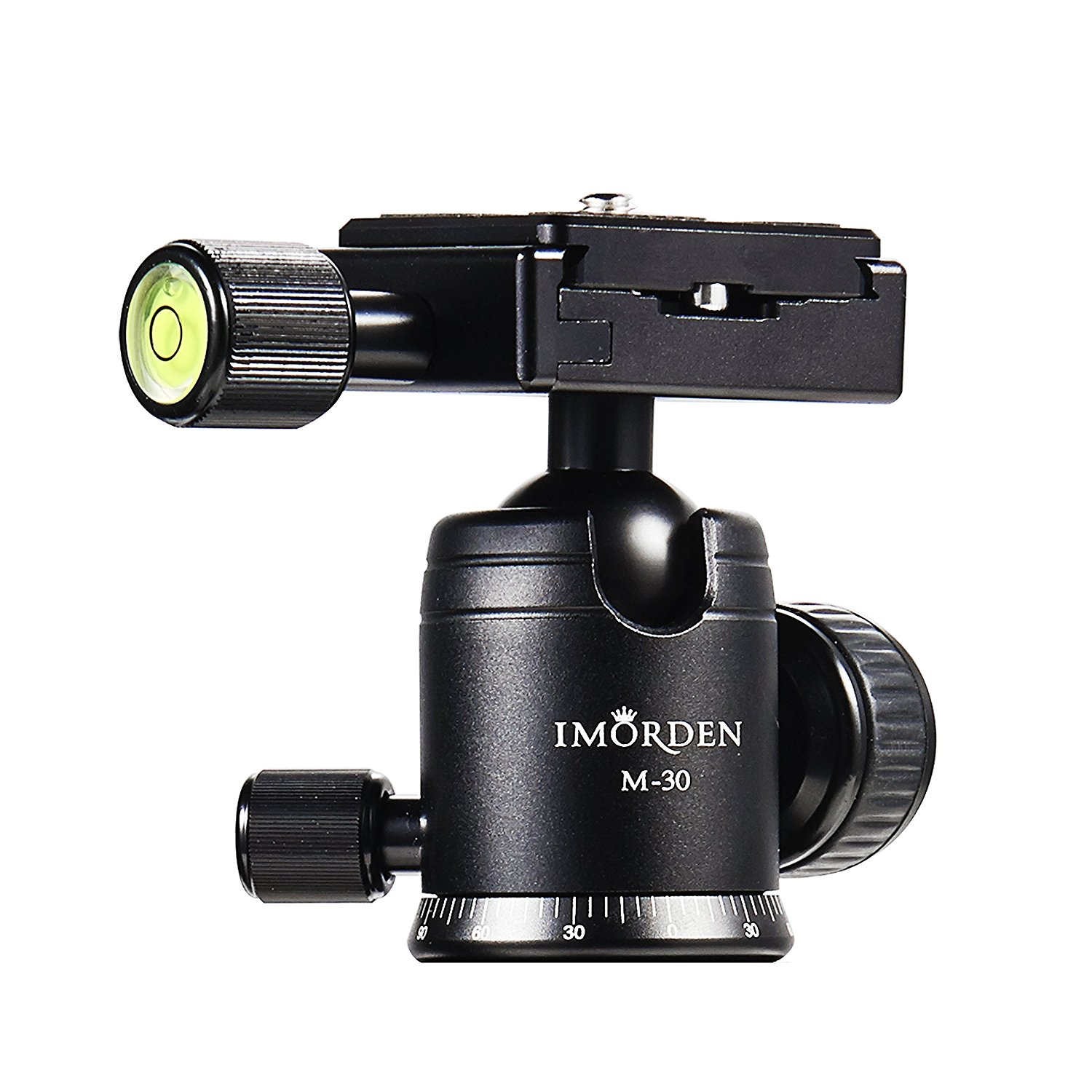 IMORDEN M-30 Camera Tripod Ball Head 360° Fluid Rotation Panoramic Ball Head with 1/4'' Screw on Arca Swiss Quick Release Plate for Tripod, Monopod, Slider, Shoulder Rig, DSLR Camera, Camcorder