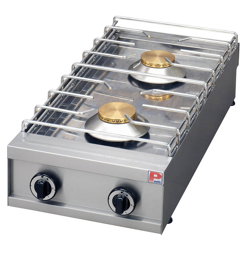 2 Burner Kitchen Countertop Gas Cooktop Range / Hob / Stove Machine with Griddle - Commercial Cooking Equipment