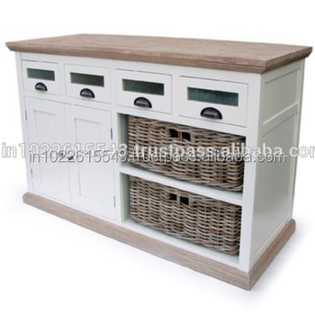 Industrial Shabby Chic Sideboard With Rattan Basket Antique Wood