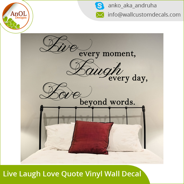 Groothandel Custom Muurstickers, 3D Art Vinyl Muurstickers, Quote Muurstickers Live Laugh Love