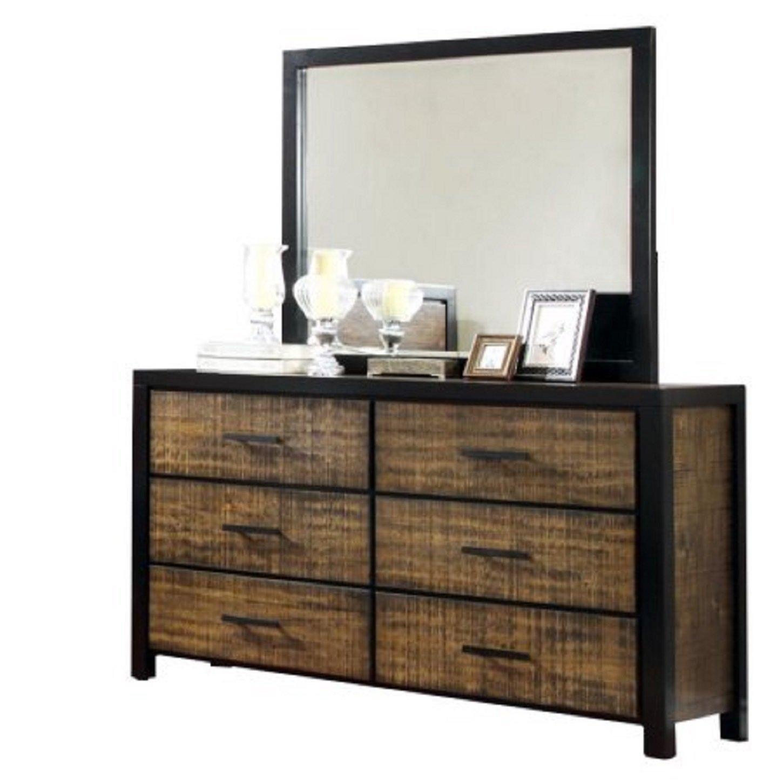 Wood Drawer Dresser, Solid Wood Six Drawer Dresser,Bedroom Vintage Mirror Furniture, Black Framing Oak Finish Rustic Dresser for Women, Metal Bar Pull Handles, Two-tone Finish 6-Drawer Dresser