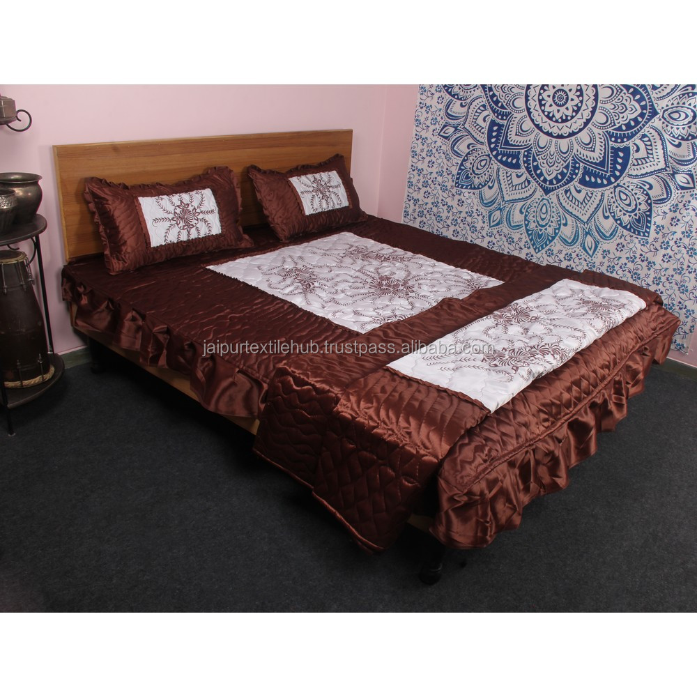 Indian Satin Silk Bed Cover Set Sheet Bedspread 4 Pcs Bedding Set   Buy Bedding  Set,Silk Bedding Set,Silk Bedding Set Product On Alibaba.com