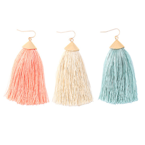 2019Women Colorful Silk Thread Chunky Fan Silk Thread Earrings Indian Fashion Jewelry Earring Boho Vintage Tassel earrings