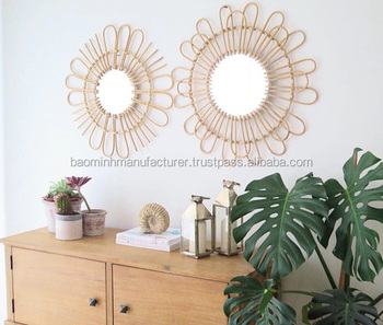 Natural Rattan mirror handmade decorative wall mirror