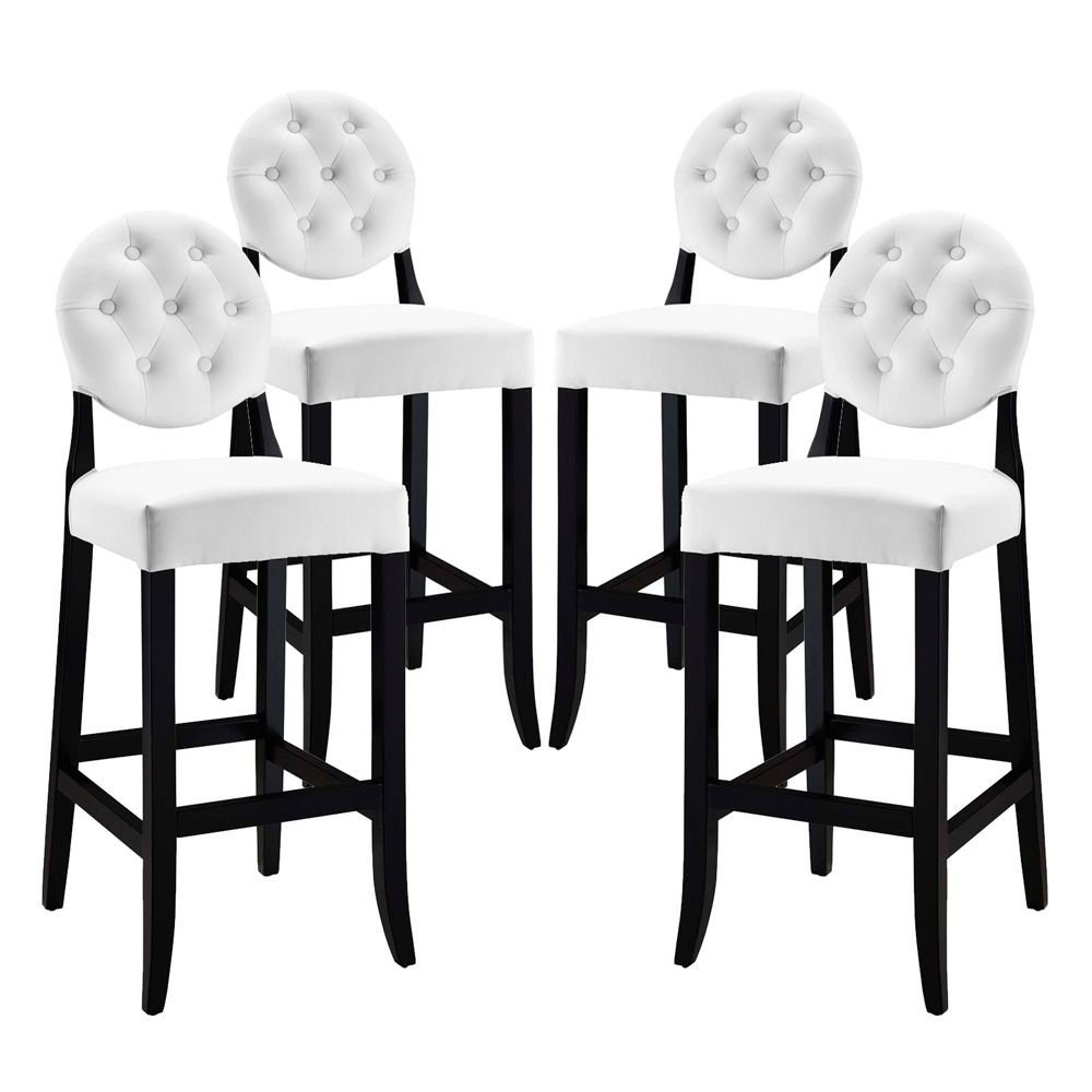 """Bar Stool Set of 4 White Dimensions: 23.5""""W x 17""""D x 47""""H Weight: 90 lbs"""