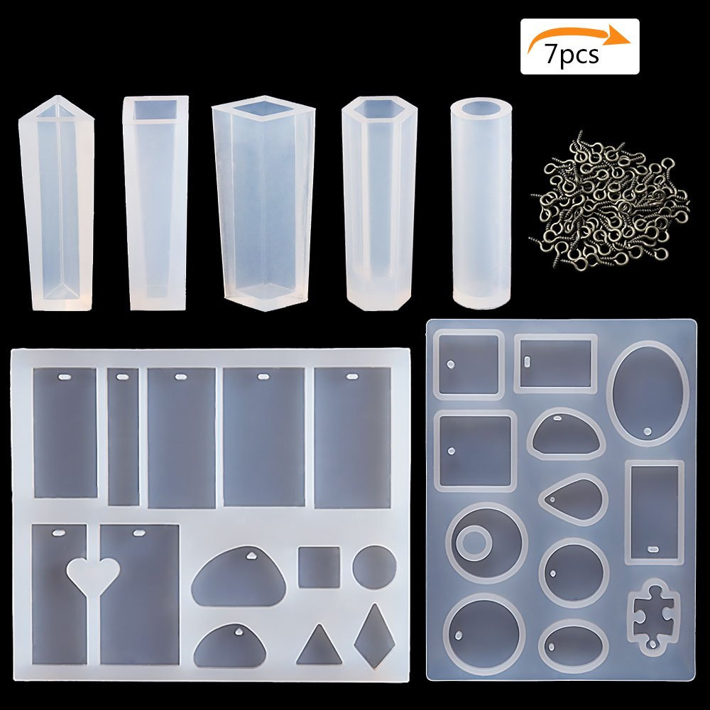 Brodi 2 Pack Jewelry Casting Molds & 5 Styles Pendant Making Silicone Mold for DIY Jewelry Craft Making, Come with 50 PCS Screw Eye Pins