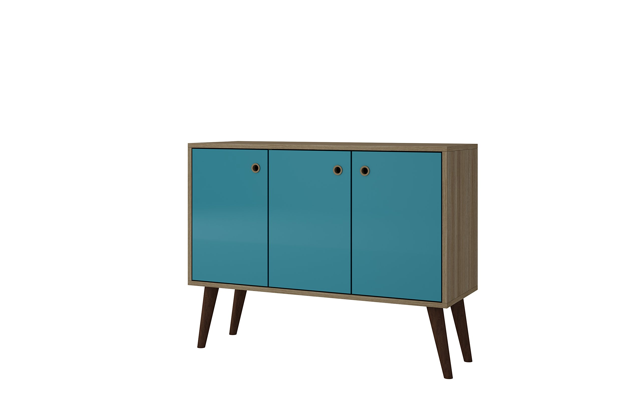 Get Quotations · Manhattan Comfort Bromma Collection Mid Century Modern  Square Buffet Stand Table With Two Cabinets And Splayed
