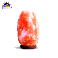 Himalayan Natural Rock Salt lamp with wooden bass 2-3kg