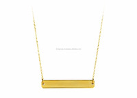 Personalized Gold Plated Bar Pendant Necklace 18""