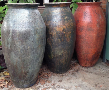 Vietnamese Ceramic Black Clay Round Outdoor Pot Planter
