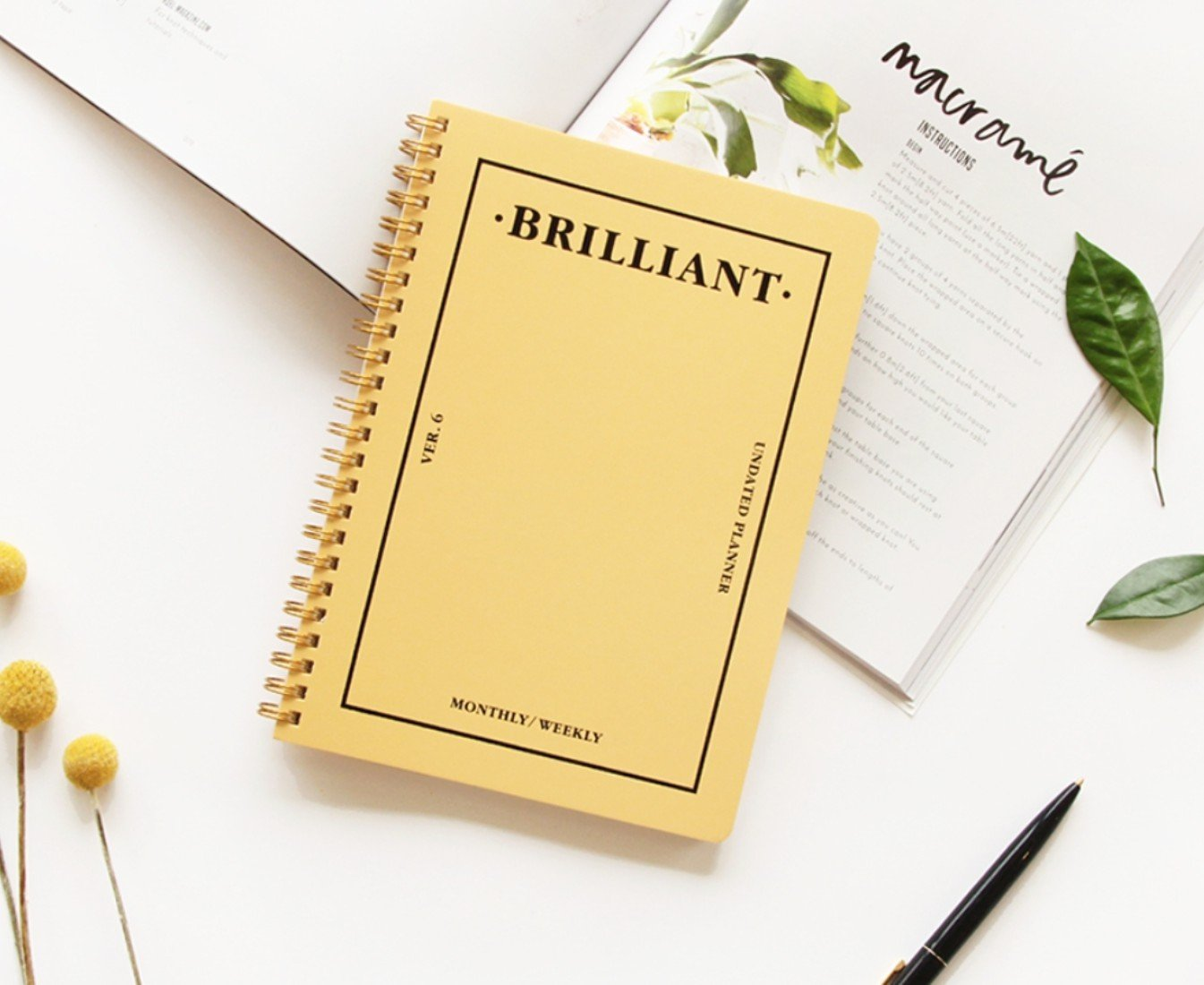 PAPERIAN Brilliant Monthly & Weekly Planner - Wirebound Undated Monthly &Weekly Planner Book Scheduler Diary (Honey Yellow)