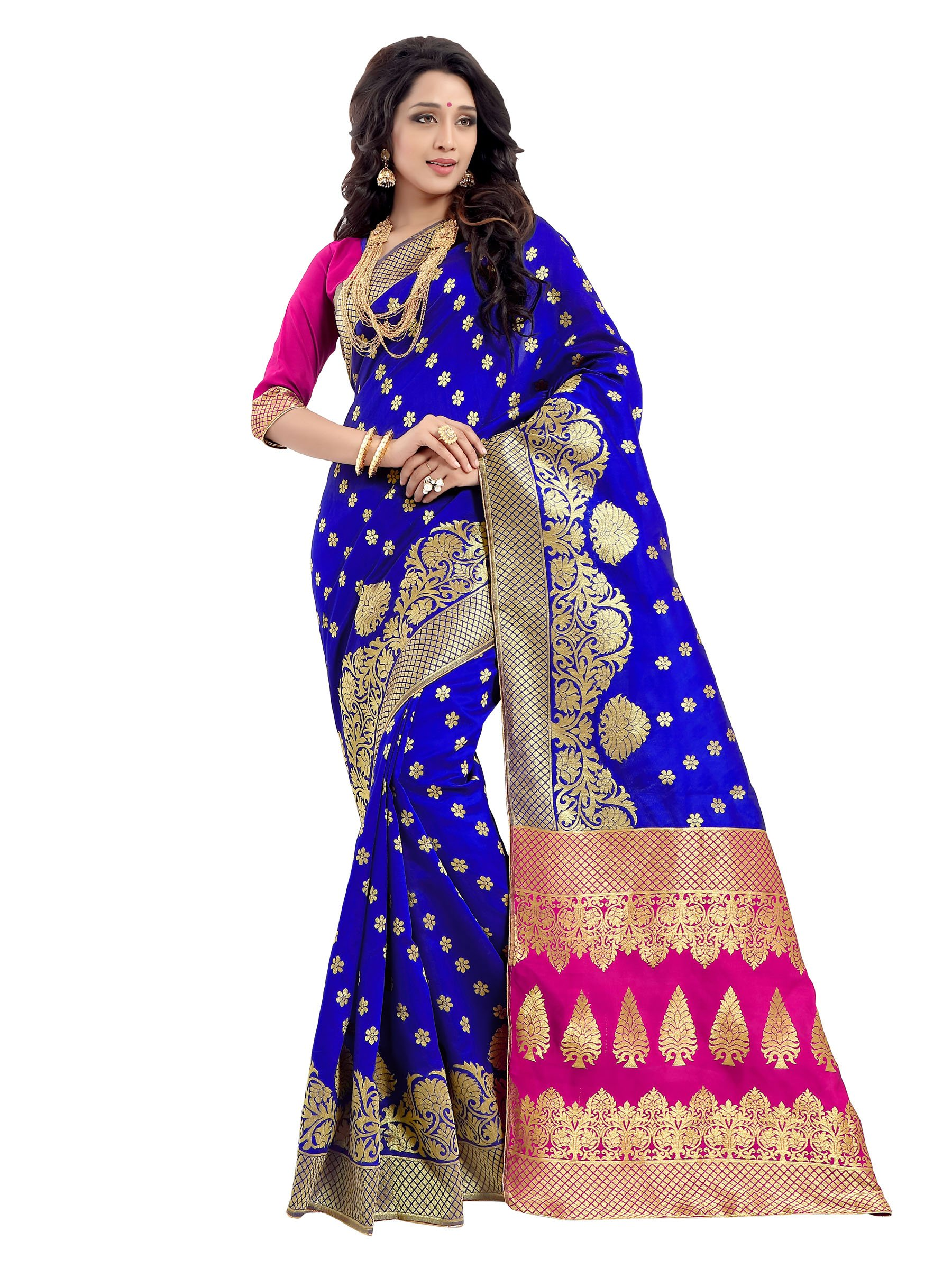 Rajnandini Women's Banarasi Silk Weaving Work Saree(JOPLLB1001A_Blue_Free Size)