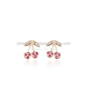 Genuine Ruby Diamond Stud Earrings Solid 14k Yellow Gold Handmade Indian Jewelry