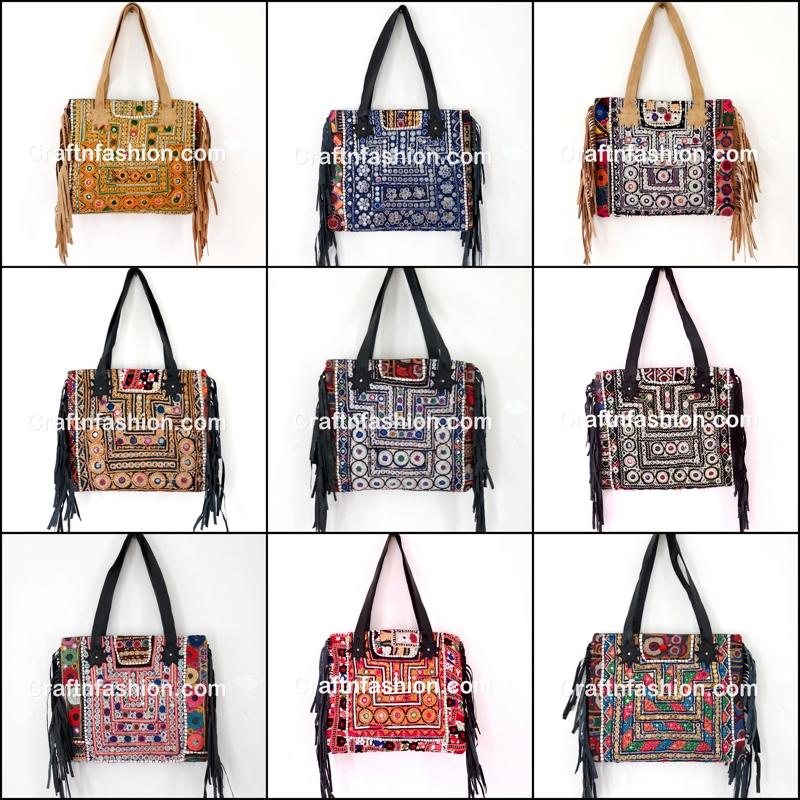 3f9de2f9bd Womens Leather Fringe Handbag Bags- Bohemian Banjara Leather Fringe Ethnic  Handbag