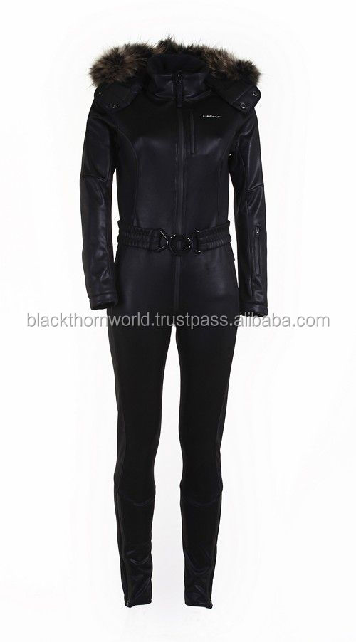 Bespoke one piece snow and ski suit with fur collar