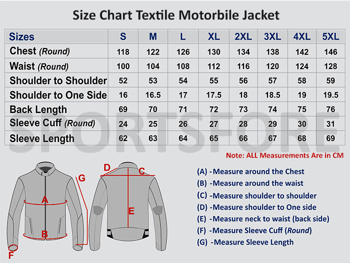 Motorcycle Textile Jacket size chart