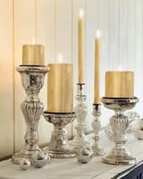Mercury glass candlestick / mercury pillar candle holder / decorative candle stand