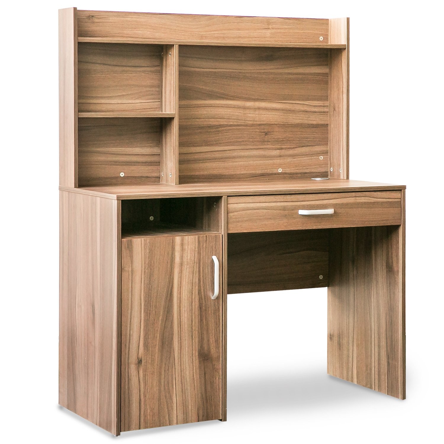 Merax Home Office Computer Desk with Hutch and Bookshelves (Brown)