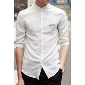 Stand Collar Shirts Designs : White refreshing fitted stand collar pocket half sleeves elite