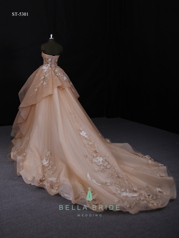 Guangzhou Designer Unique Wedding Dresses Fashion Couture Chocolate Gowns Bridal Dressing Gown Custom Plus