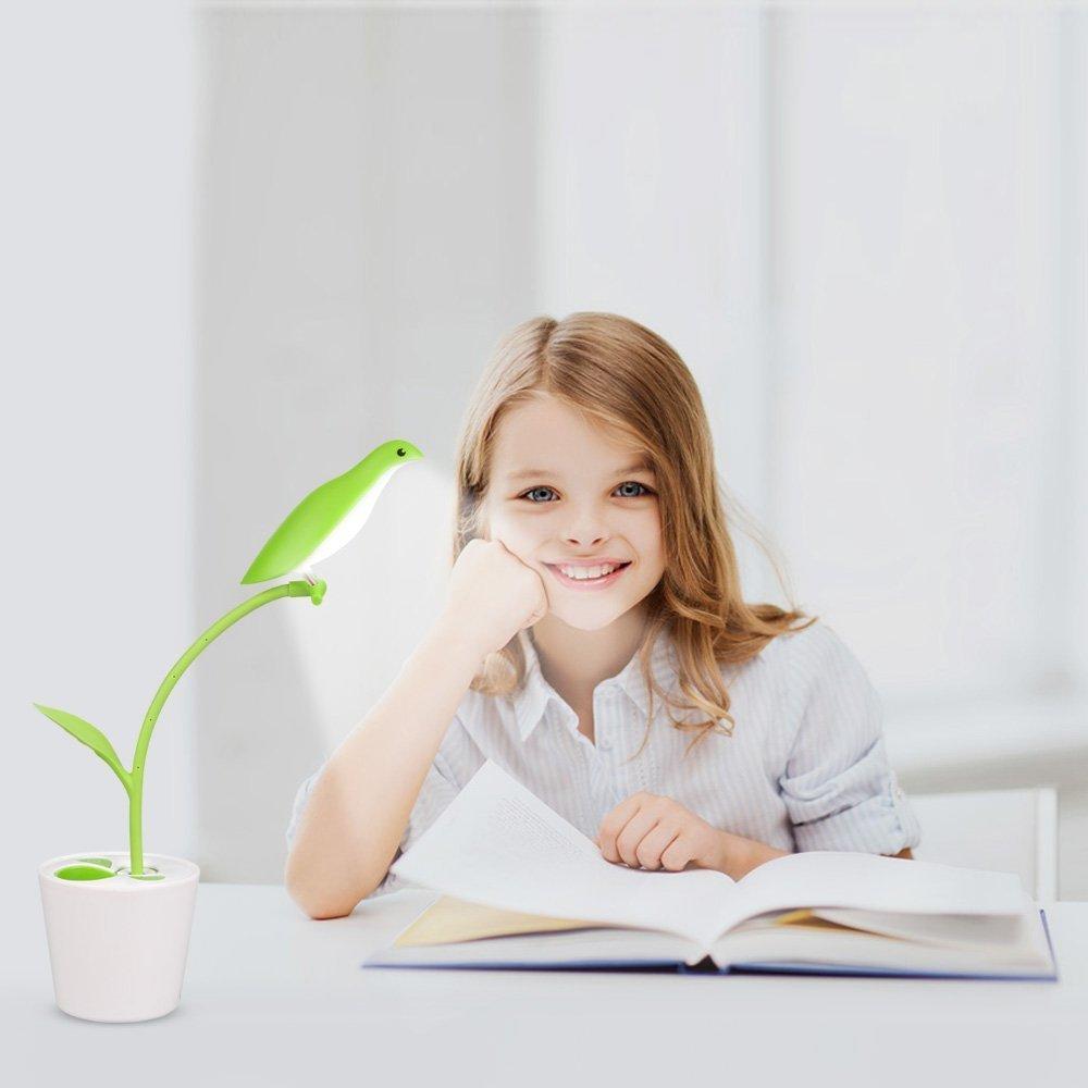 LED Desk Lamp,Stylish Design LED Table Reading Lamp,Free Bird Eye-Care 3 Dimmable Levels Touch Sensor Switch,USB Charging Port,Flexible Neck,Organizer Pen Holderf or Kids Children (Green)