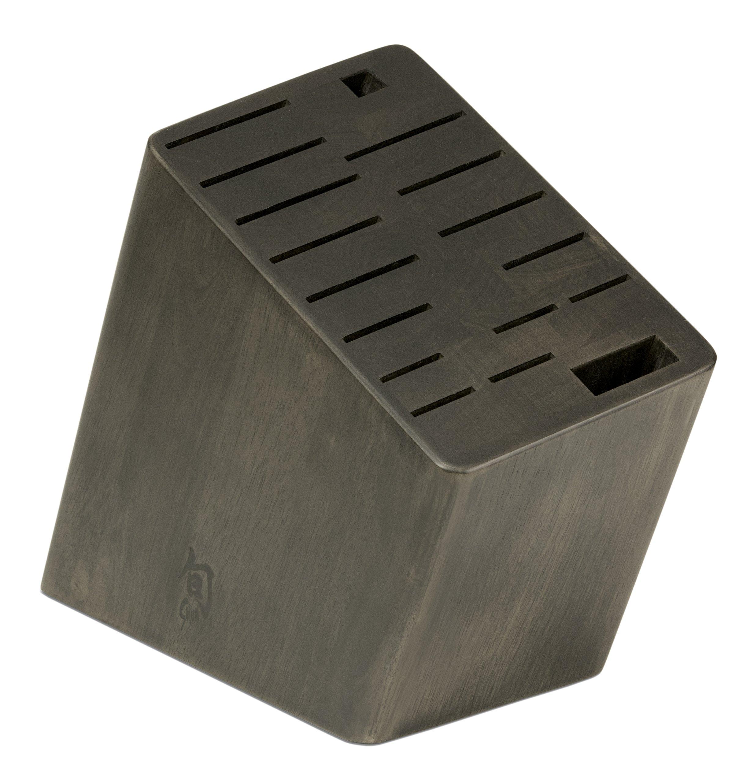 Get Quotations Shun Dm0848 17 Slot Angled Knife Block Black