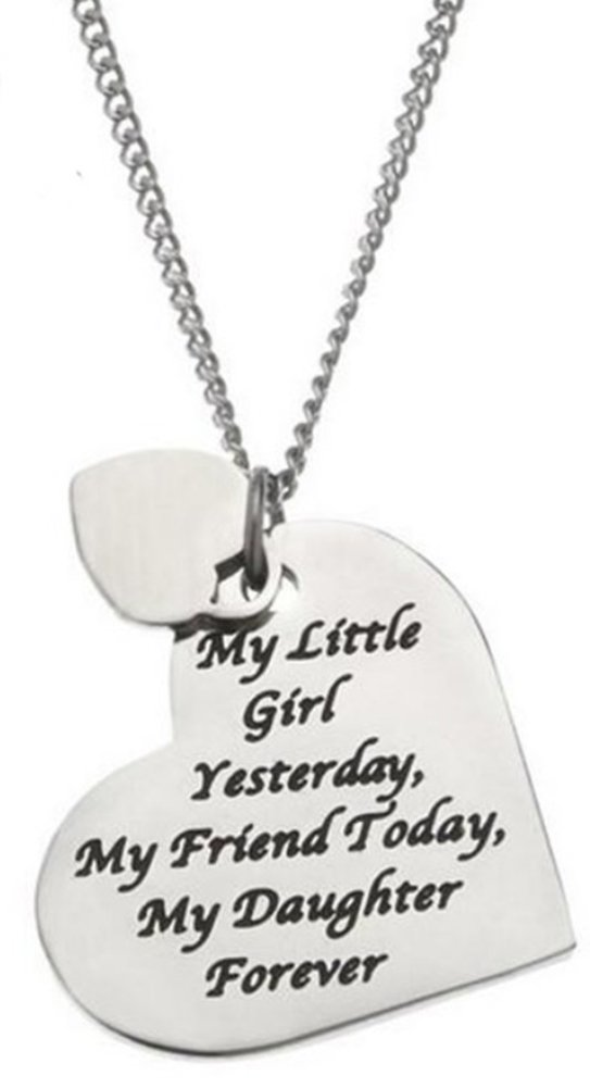 Daughter Necklace - ''MY LITTLE GIRL YESTERDAY MY FRIEND TODAY MY DAUGHTER FOREVER'' Heart Pendant Necklace Jewelry Gifts for Women & Teens from Mom, Dad