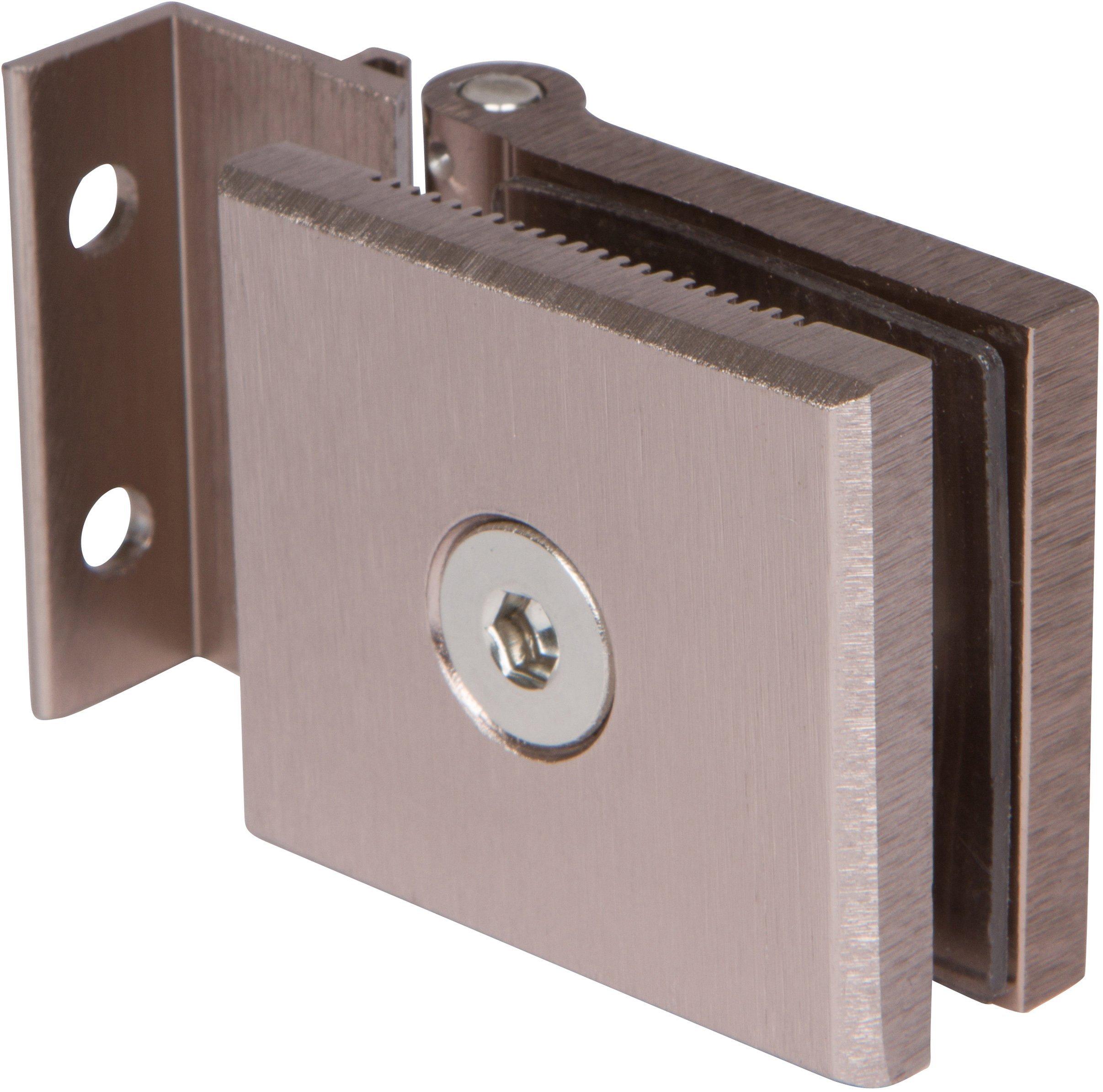 "Mini Hinge for 1/4"" Glass Shower Doors in Brushed Nickel Finish,"