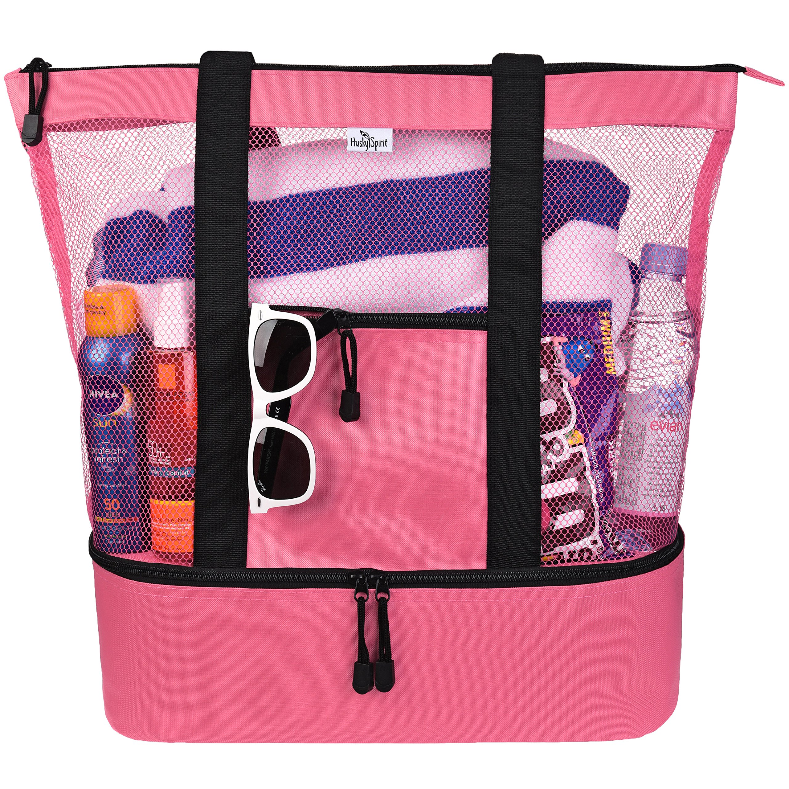 Get Quotations Mesh Beach Tote Bag For Women W Insulated Picnic Cooler And Top Zipper Large