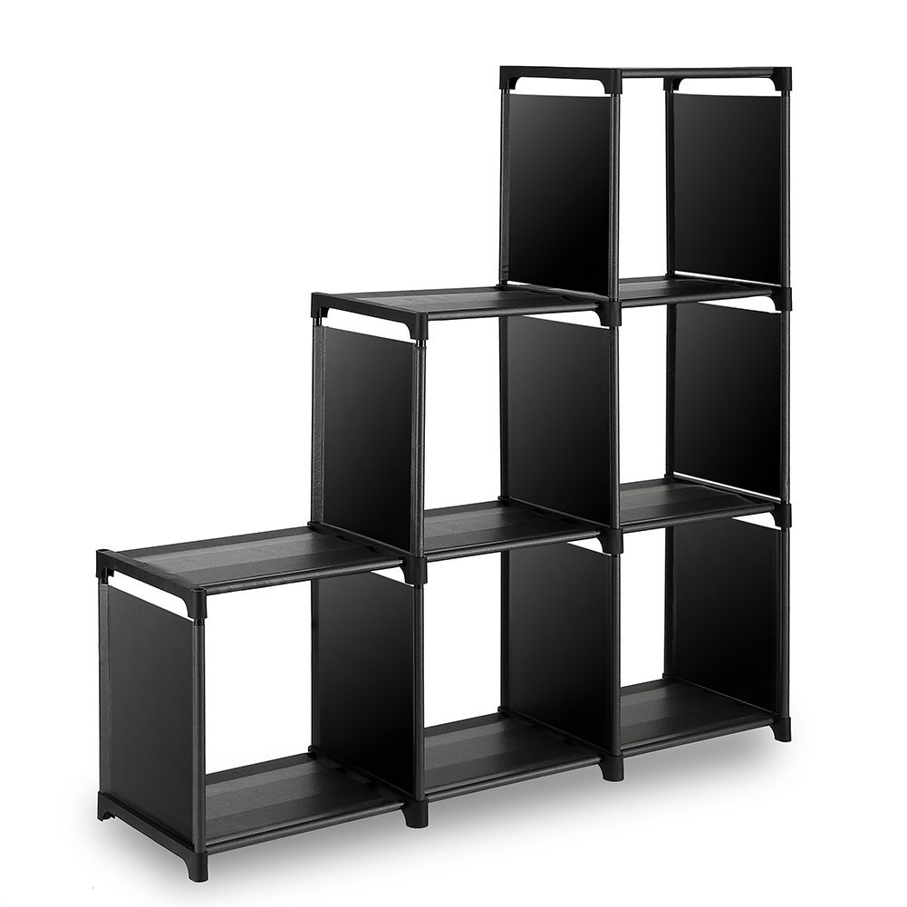 TomCare Cube Storage 6-Cube Shelves Storage Cubes Organizer Closet Organizer Bookcase Cubby Bins Cabinets Storage Shelves for Bedroom Living Room Office, Black