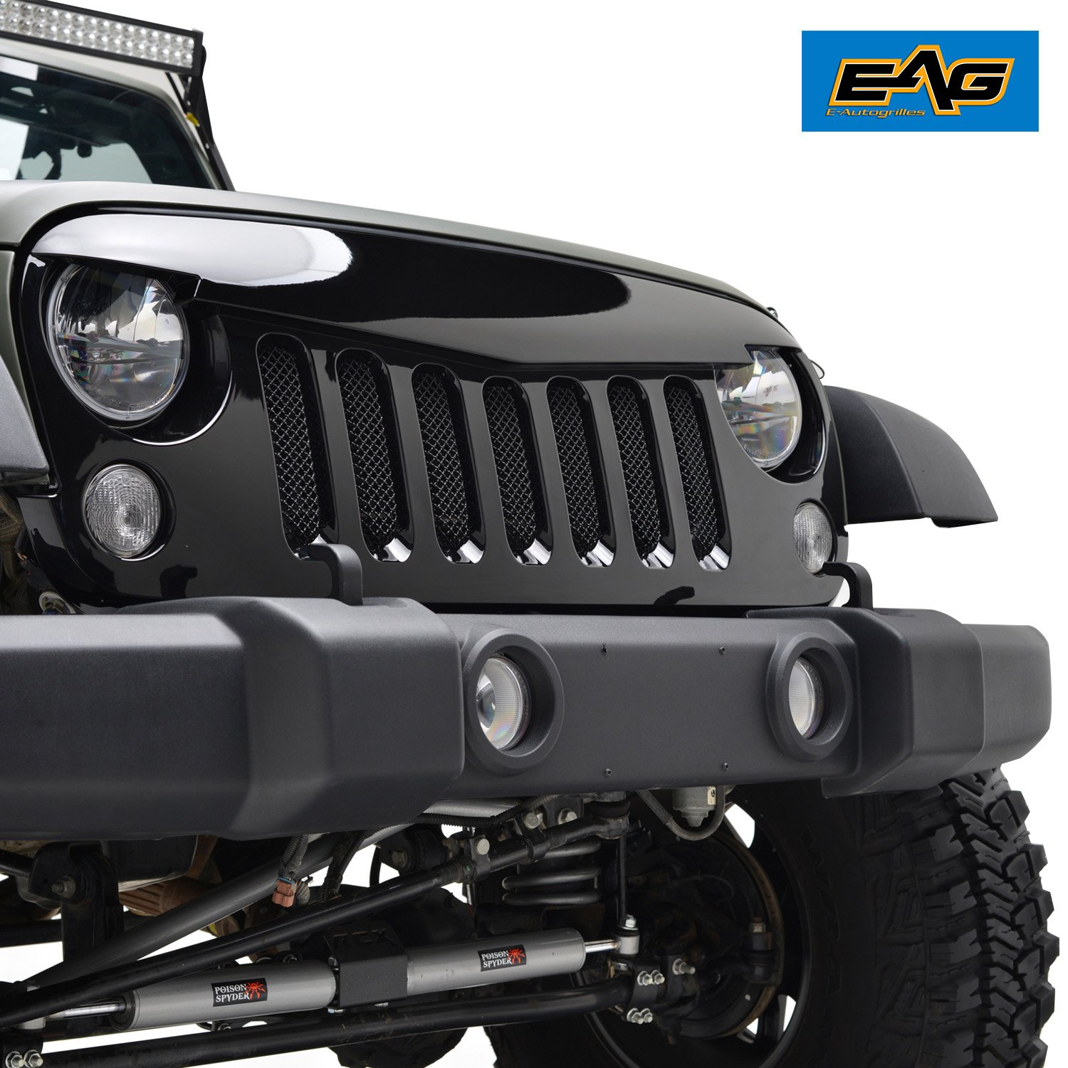5dc8e242 Get Quotations · E-Autogrilles Glossly Black Angry Bird Grille Grid Grill  With Wire Mesh insert for Jeep