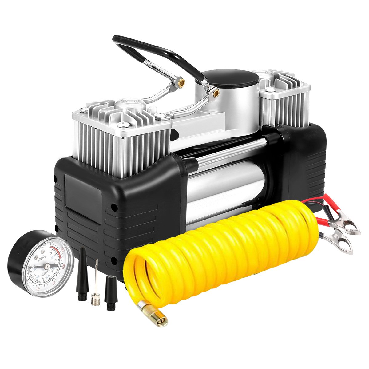 AUDEW Portable Air Compressor Pump, 150PSI Heavy Duty Dual Cylinder Air Pump, Auto 12V Tire Inflator for Car, Truck, RV, Bicycle and Other Inflatables