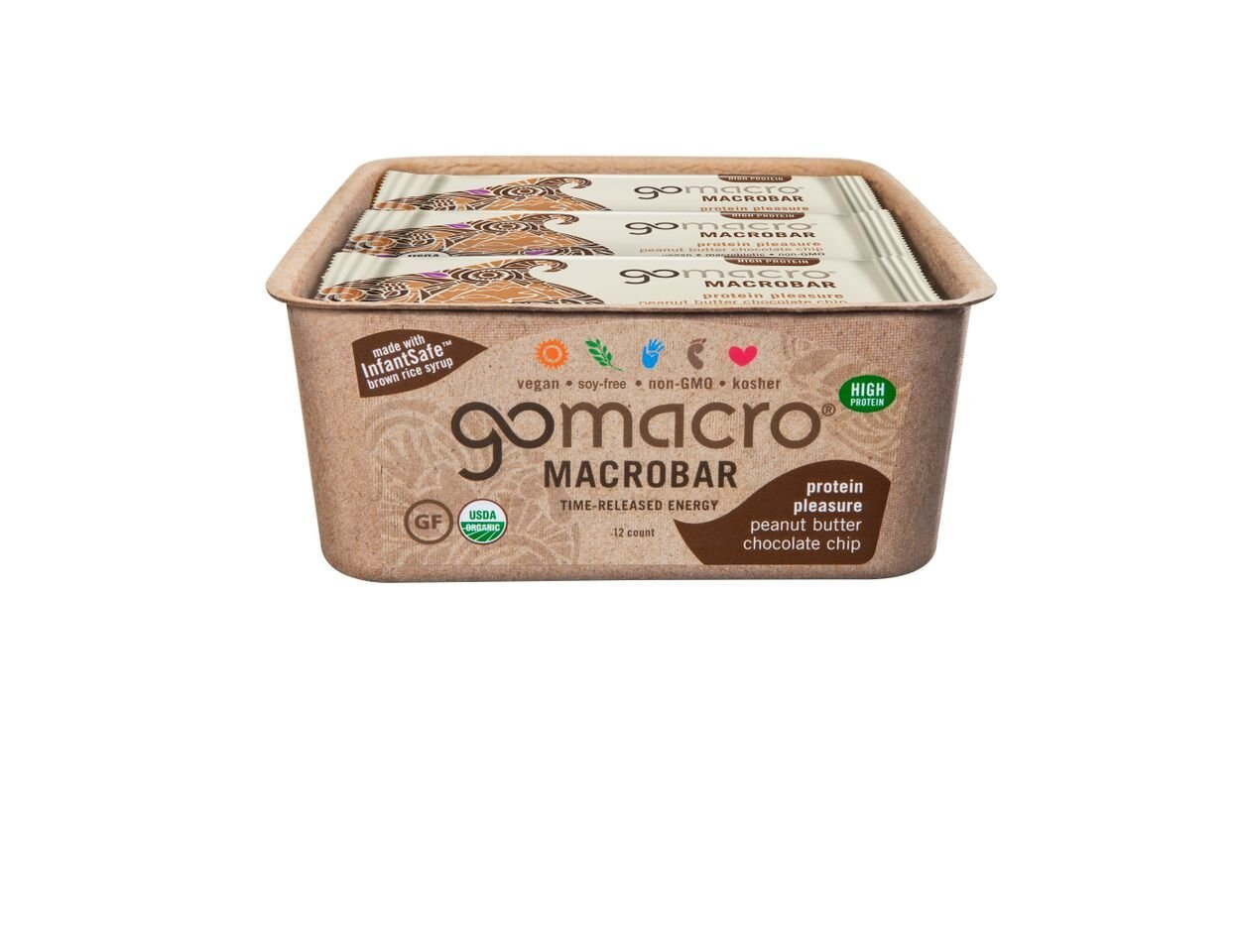 GoMacro MacroBar, Organic Vegan Protein Bar, Peanut Butter + Chocolate Chip, 2.4 oz (Pack of 12)