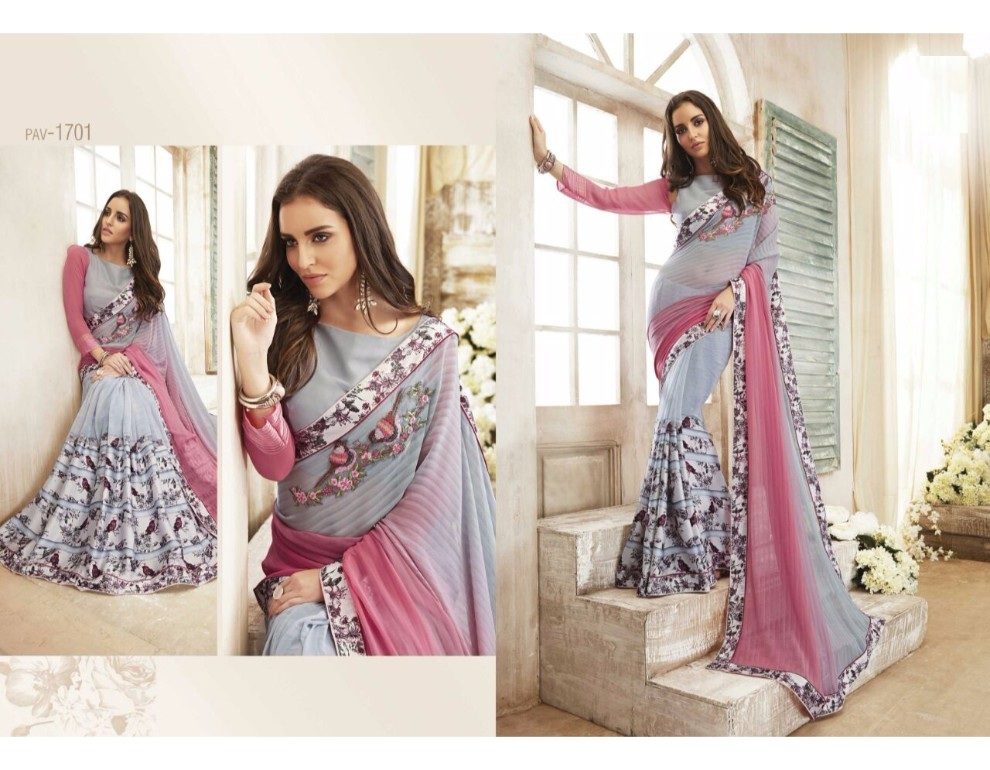Saree Sari Georgette Indian Bollywood Wear Blouse Party Designer Work Ethnic