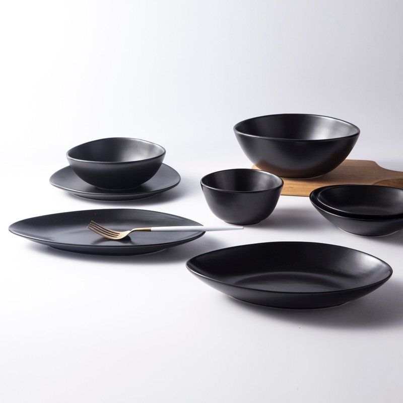 product-Two Eight-Black Dinnerware Crockery Glazed For Specialty Restaurant Banquet Hotel Unique Bla-1