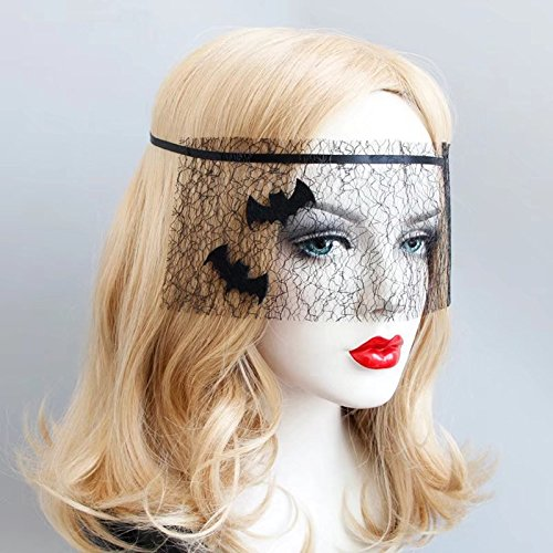 ED Lady Elegant Sexy Gothic Crown Bat Black Lace Veil Half Face Eye Mask Stretch Headband Costume Party Halloween Christmas Hair Accessory,Nightclub Lace for Women Cosplay (black veil)
