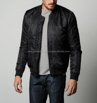61f38b23a30 Custom Nylon Plain Black MA-1 Flight Bomber Jacket Mens Satin Black Varsity  Jacket Black