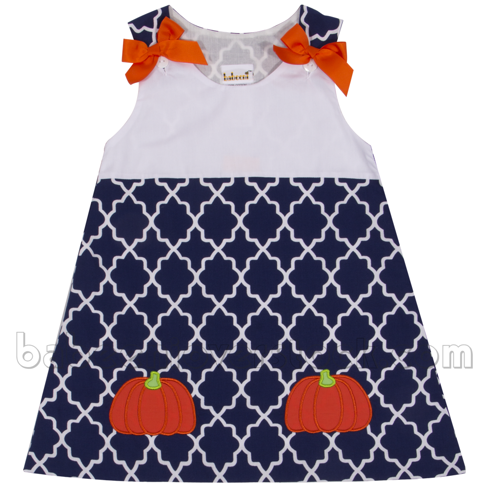 Lovely baby dress for girl child with pumpkin applique pattern`