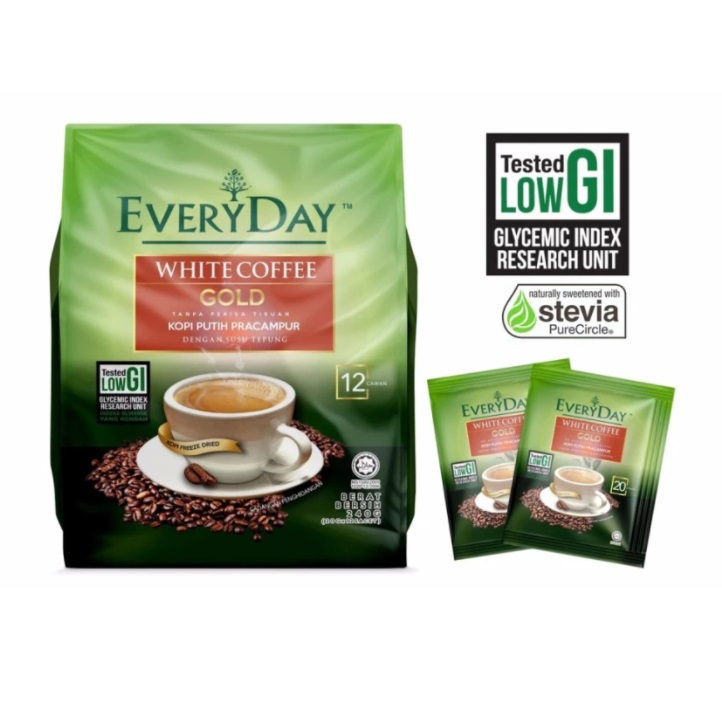Healthy Coffee Sugar Free Low Gi White Gold With Stevia Originated From Malaysia